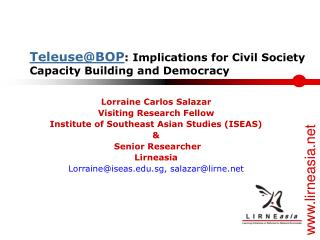 Teleuse@BOP : Implications for Civil Society Capacity Building and Democracy