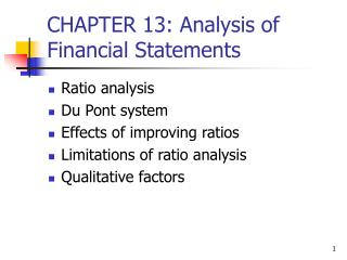 CHAPTER 13: Analysis of Financial Statements