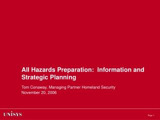 All Hazards Preparation:  Information and Strategic Planning