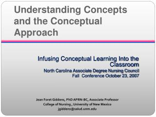 Understanding Concepts and the Conceptual Approach