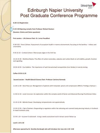 Edinburgh Napier University  Post Graduate Conference Programme