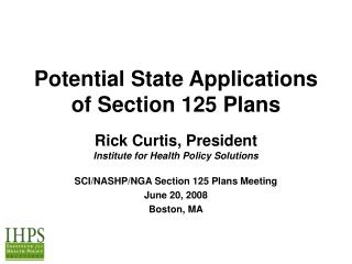 Potential State Applications  of Section 125 Plans