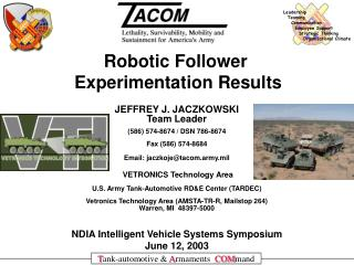 NDIA Intelligent Vehicle Systems Symposium June 12, 2003