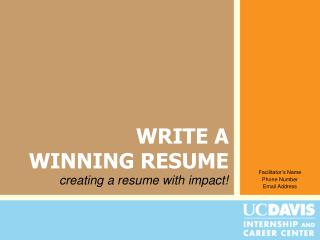 WRITE A  WINNING RESUME