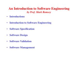 An Introduction to Software Engineering by Prof. Mark Ramsey