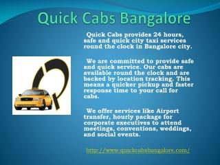 Car Rental Service Bangalore | Quick Cabs Bangalore