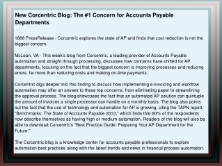 New Corcentric Blog: The #1 Concern for Accounts Payable Dep