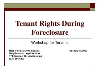 Tenant Rights During Foreclosure