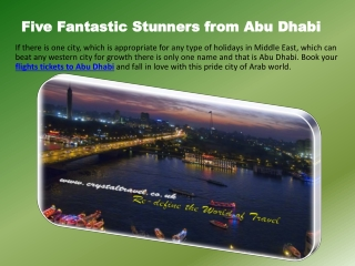 Five Fantastic Stunners from Abu Dhabi