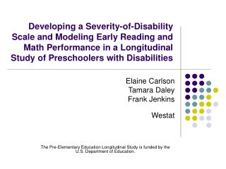 Developing a Severity-of-Disability Scale and Modeling Early Reading and Math Performance in a Longitudinal Study of Pre
