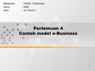 Pertemuan 4 Contoh model e-Business