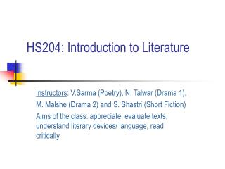 HS204: Introduction to Literature