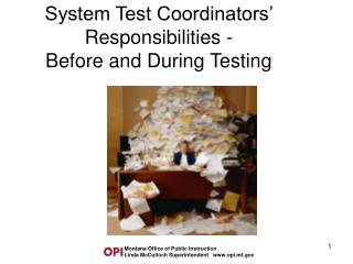 System Test Coordinators  Responsibilities - Before and During Testing