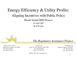 Energy Efficiency & Utility Profits: Aligning Incentives with Public Policy
