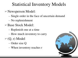 Statistical Inventory Models