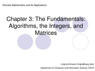 Chapter 3: The Fundamentals: Algorithms, the Integers, and Matrices