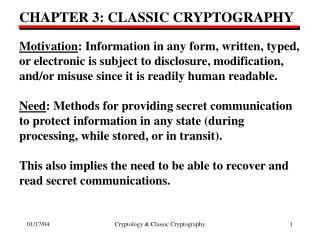 CHAPTER 3: CLASSIC CRYPTOGRAPHY