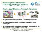 ICI produces Concepts from Client Requirements.  ICI delivers Functional Prototype Hardware from Concepts.  ICI has deli