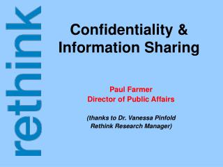 Confidentiality & Information Sharing