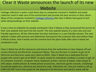 Clear it Waste announces the launch of its new Website