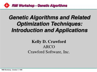 RMI Workshop - Genetic Algorithms