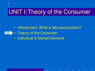 UNIT I:	Theory of the Consumer