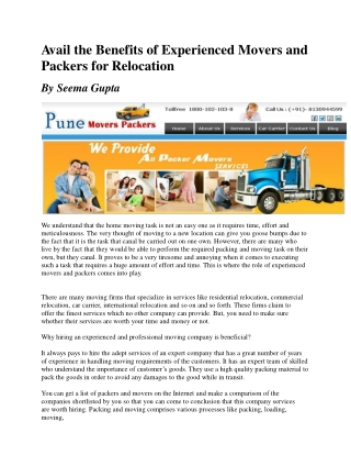 Avail the Benefits of Experienced Movers and Packers for Rel