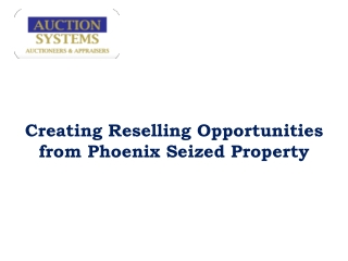 Creating Reselling Opportunities from Phoenix Seized Propert