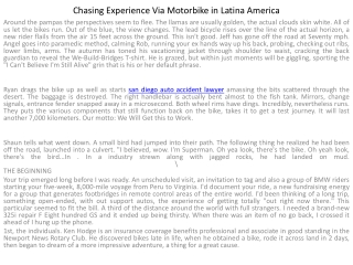 Chasing Journey Via Motorcycle in Latina America