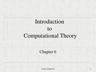 Introduction to  Computational Theory