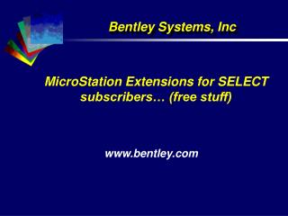 MicroStation Extensions for SELECT subscribers… (free stuff)
