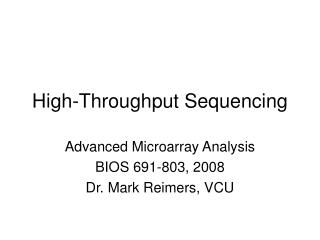 High-Throughput Sequencing