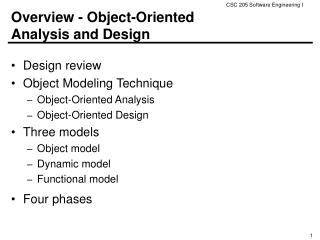 Overview - Object-Oriented  Analysis and Design