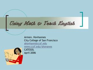 Using Math to Teach English