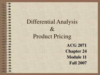 Differential Analysis   Product Pricing