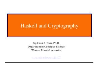 Haskell and Cryptography