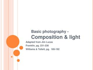 Basic photography -  Composition & light