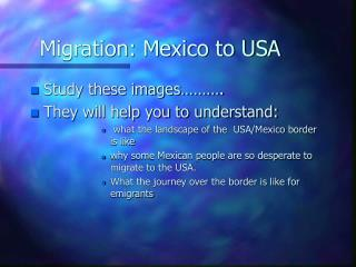 Migration: Mexico to USA