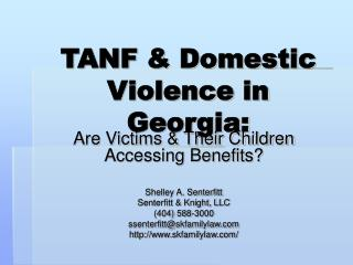 TANF & Domestic Violence in Georgia:
