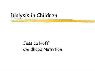 Dialysis in Children
