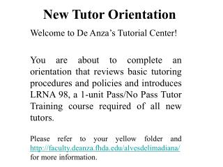 New Tutor Orientation