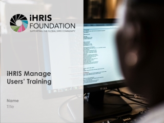 iHRIS Manage Users' Training