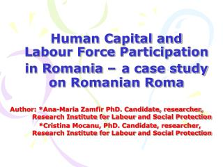 Human Capital and Labour Force Participation in Romania   a case study on Romanian Roma