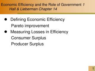 Economic Efficiency and the Role of Government  1         Hall & Lieberman Chapter 14