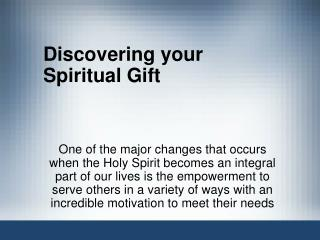 Discovering your Spiritual Gift