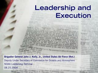Leadership and Execution