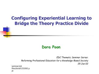 Configuring Experiential Learning to Bridge the Theory Practice Divide