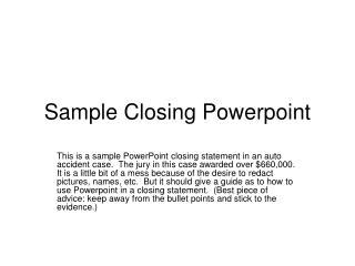 Sample Closing Powerpoint
