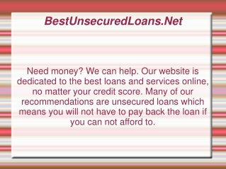 Unsecured Loans - http://bestunsecuredloans.net/