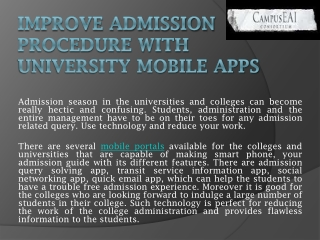 Improve Admission Procedure with University Mobile Apps